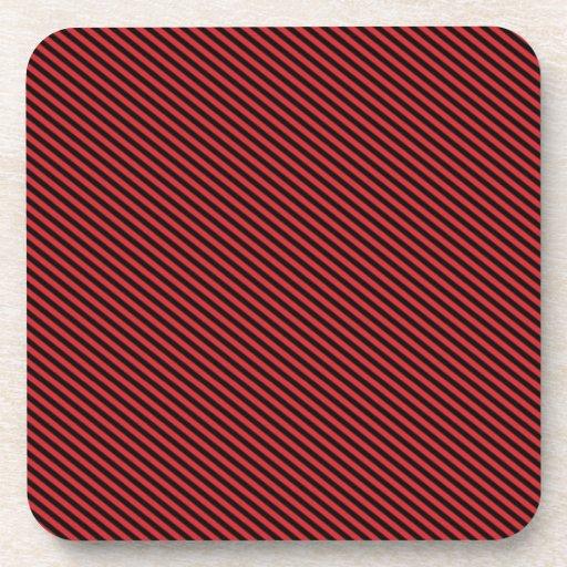 Red and Black Diagonal Stripes Beverage Coaster
