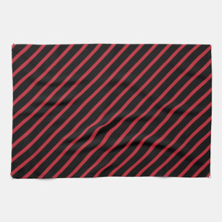 Red and Black Diagonal Stripes Hand Towel