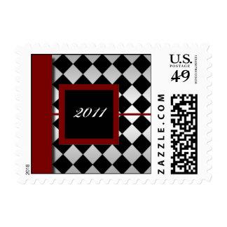 Red and Black Diamond Postage Stamp