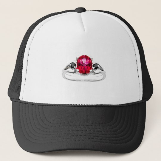 Red And Black Diamond Ring Trucker Hat