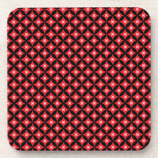Red and Black Diamond Star Pattern Coaster Set