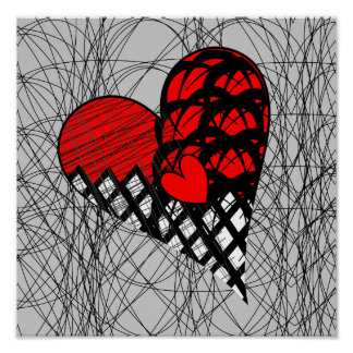 Red and Black Doodle Heart Funky Picture Poster