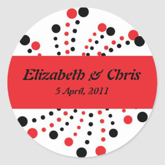 Red and Black Dot Modern Stickers for Wedding