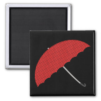 red and black dots umbrella 2 inch square magnet