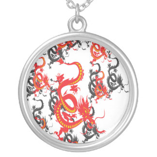 Red and Black Dragon/Chinese New Year Round Pendant Necklace