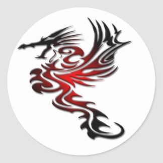 Red and Black Dragon Classic Round Sticker