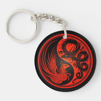 Red and Black Dragon Phoenix Yin Yang Double-Sided Round Acrylic Keychain