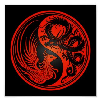 Red and Black Dragon Phoenix Yin Yang Poster