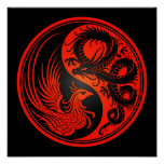 Red and Black Dragon Phoenix Yin Yang Posters