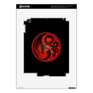 Red and Black Dragon Phoenix Yin Yang Skin For iPad 3