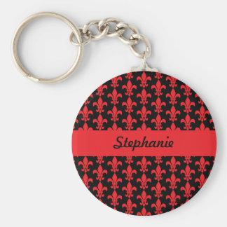 Red and Black Fleur de Lis Pattern Basic Round Button Keychain