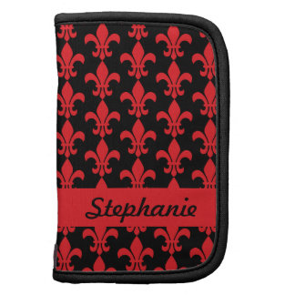 Red and Black Fleur de Lis Pattern Planners