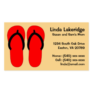 Red and Black Flip Flops  Mommy Contact  Info Card Double-Sided Standard Business Cards (Pack Of 100)
