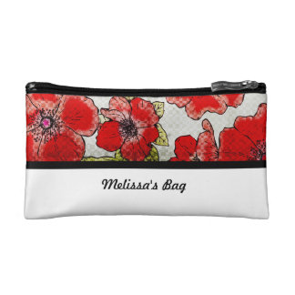 Red and Black Floral Cosmetic Bag