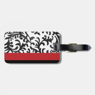 Red and Black Floral Damask Tag For Bags