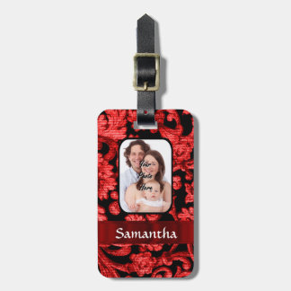 Red and black floral damask luggage tag