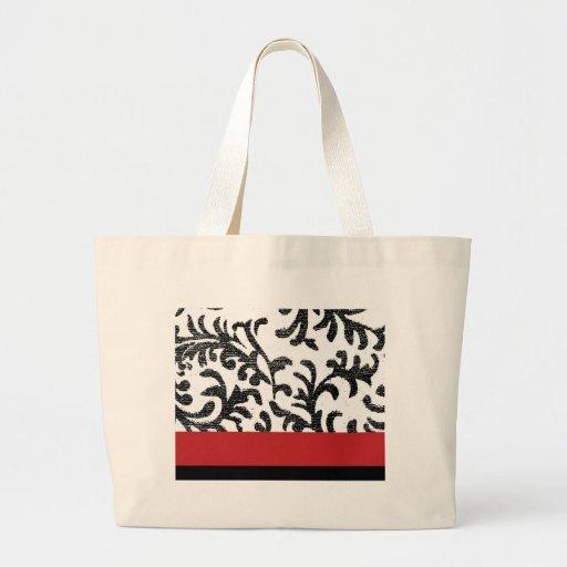 Red and Black Floral Damask Pattern Canvas Bag