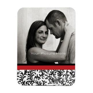 Red and Black Floral Damask Pattern Rectangular Photo Magnet