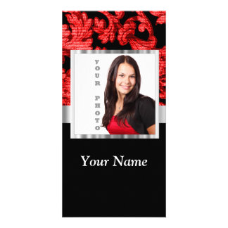 Red and black floral damask template