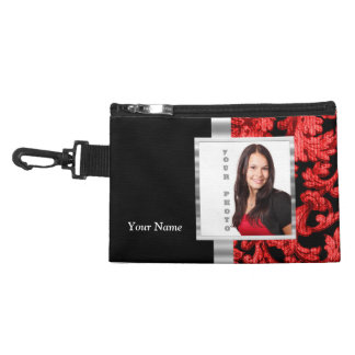 Red and black floral damask template accessory bag