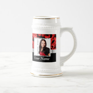 Red and black floral damask template beer stein