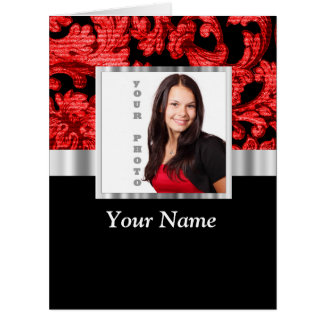 Red and black floral damask template card