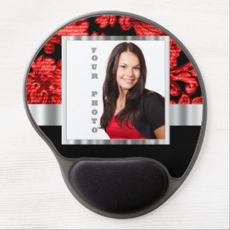 Red and black floral damask template gel mouse pad
