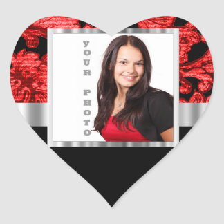 Red and black floral damask template heart sticker
