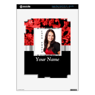 Red and black floral damask template iPad 3 decal