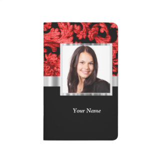 Red and black floral damask template journal