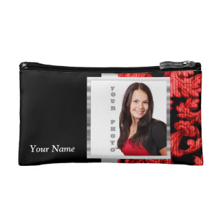 Red and black floral damask template makeup bag