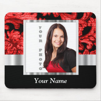 Red and black floral damask template mouse pad