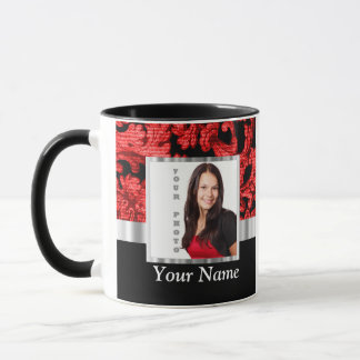Red and black floral damask template mug