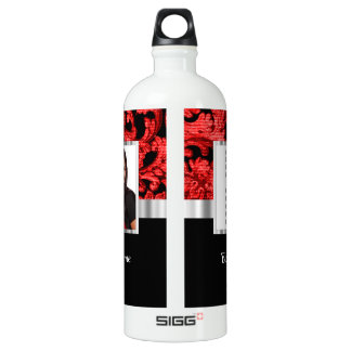 Red and black floral damask template water bottle
