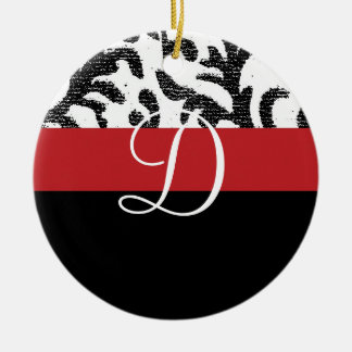 Red and Black Floral Monogram Christmas Tree Ornament