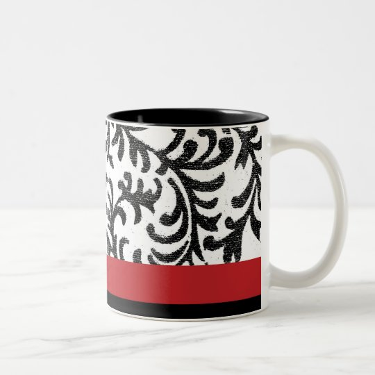 Red and Black Floral Pattern Two-Tone Coffee Mug