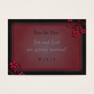 Red and Black Floral Save the Date Cards