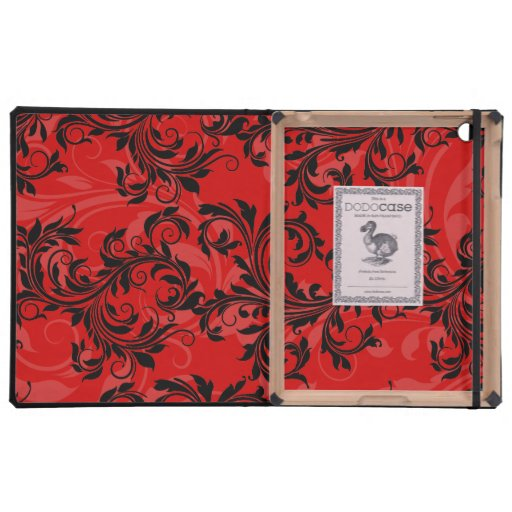Red and Black Floral Scroll iPad DODO Case Covers For iPad