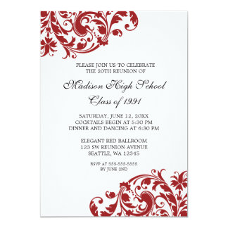 Red and Black Flourish Class Reunion 5x7 Paper Invitation Card