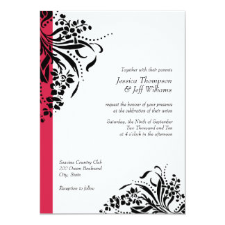 red black wedding invitations  announcements  zazzle, Wedding invitations