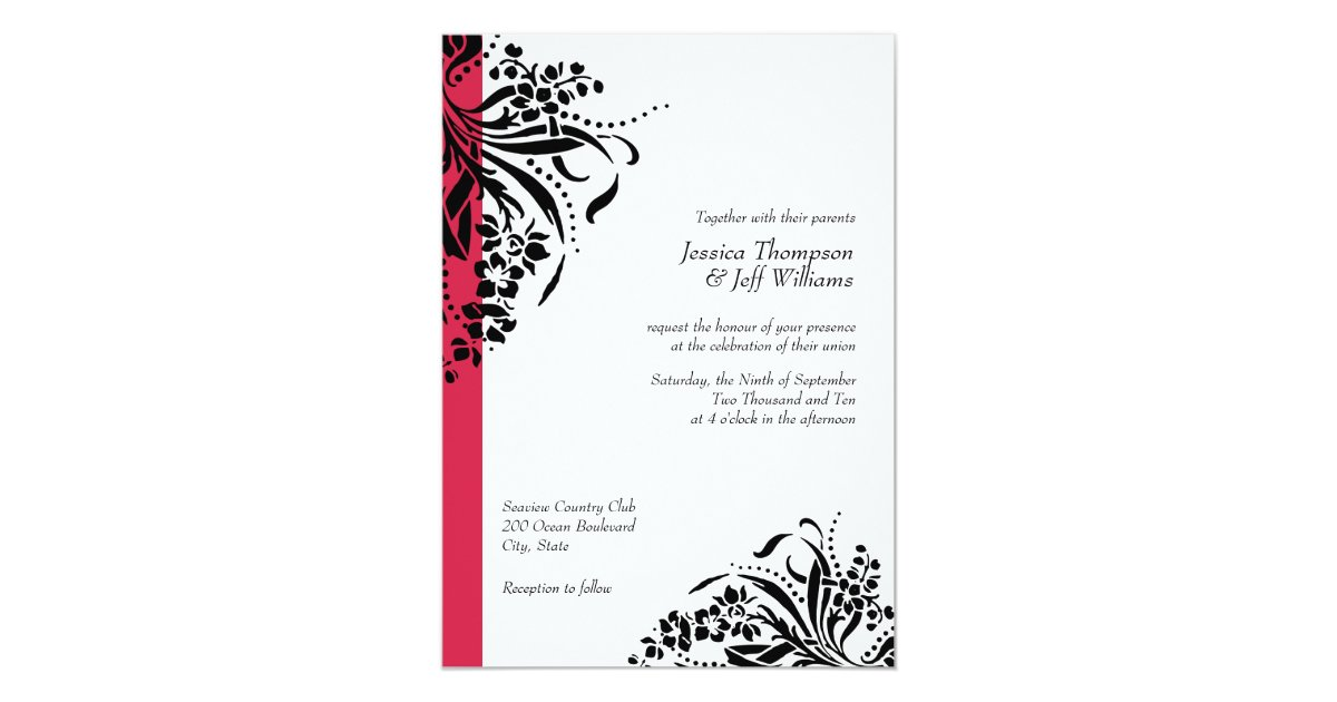 Flourish Wedding Invitations: Red And Black Flourish Wedding Invitations