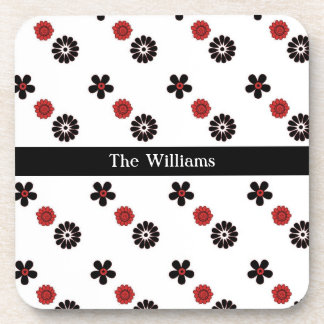 Red and Black Flower Coasters