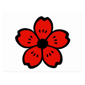 Red and Black Flower Postcard