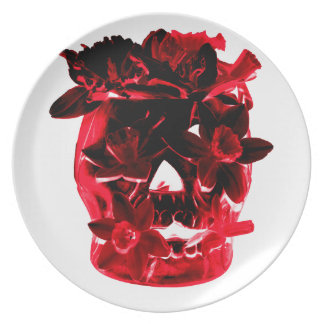 Red and Black Flowers and Skull Dinner Plate