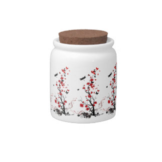 Red and Black Flowers Candy Jar