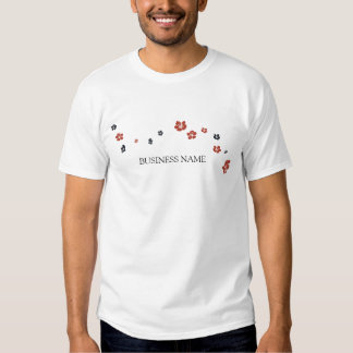 Red and Black Flowers on White Elegant Shirt