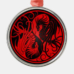 Red and Black Flying Yin Yang Dragons Round Metal Christmas Ornament