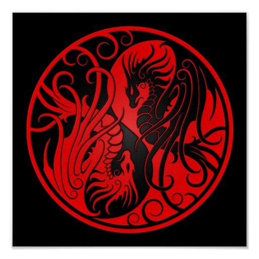 Red and Black Flying Yin Yang Dragons Poster