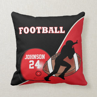 Red and Black Football   DIY Name & Number Throw Pillow