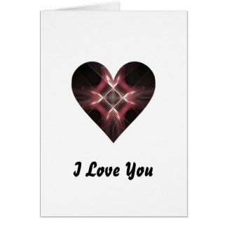 Red and Black Fractal Art Heart Greeting Card